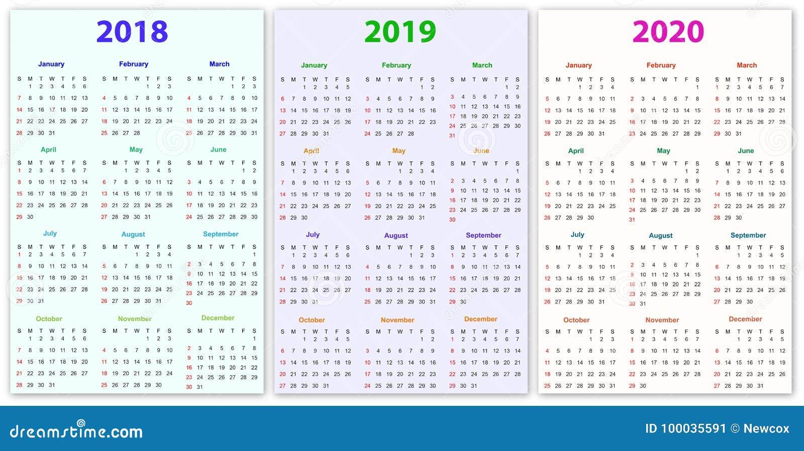 Calendario 2020 Editable Illustrator.12 Months Calendar Design 2018 2019 2020 Stock Vector