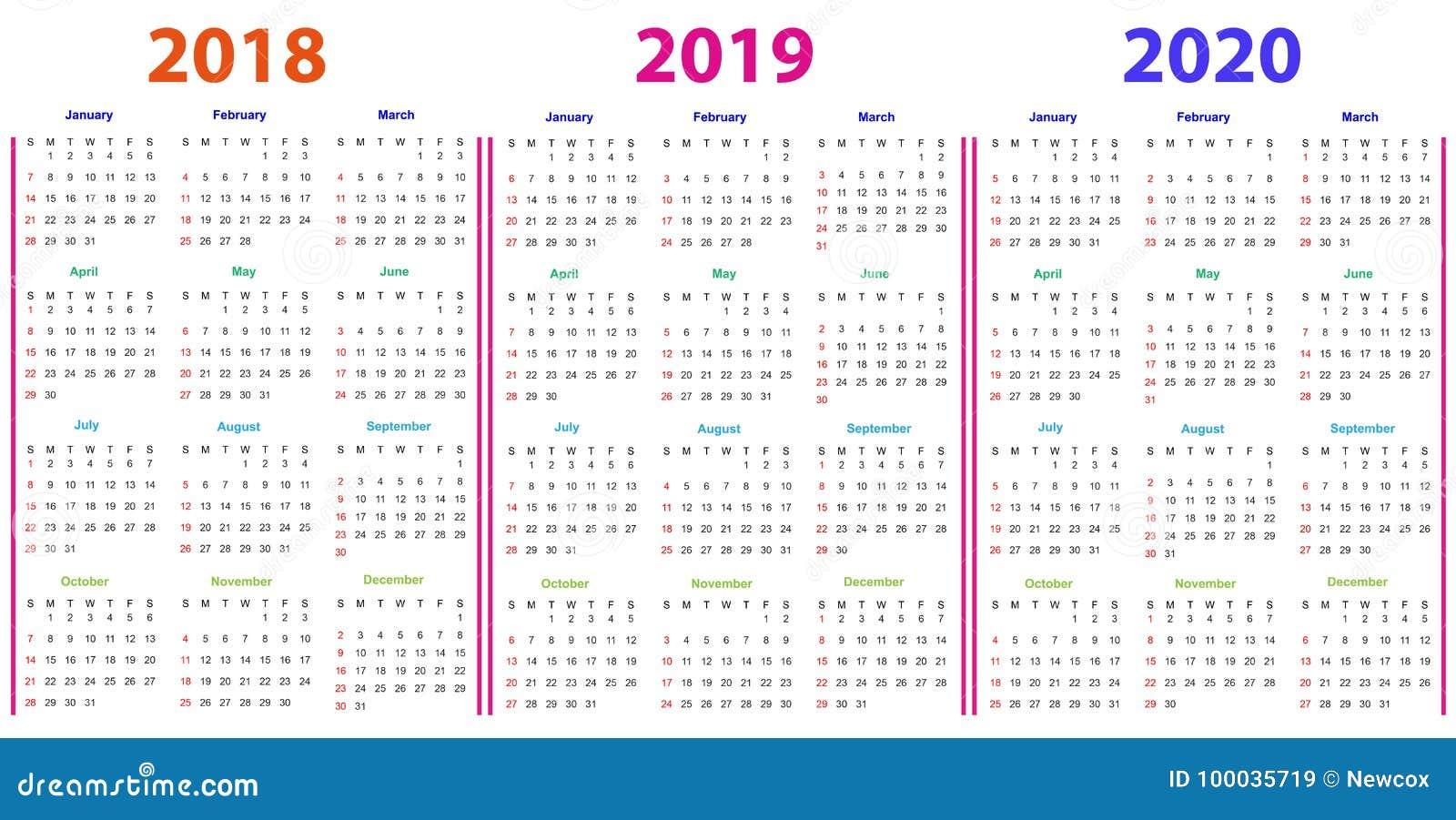 12 months calendar design 2018 2019 2020 stock vector illustration