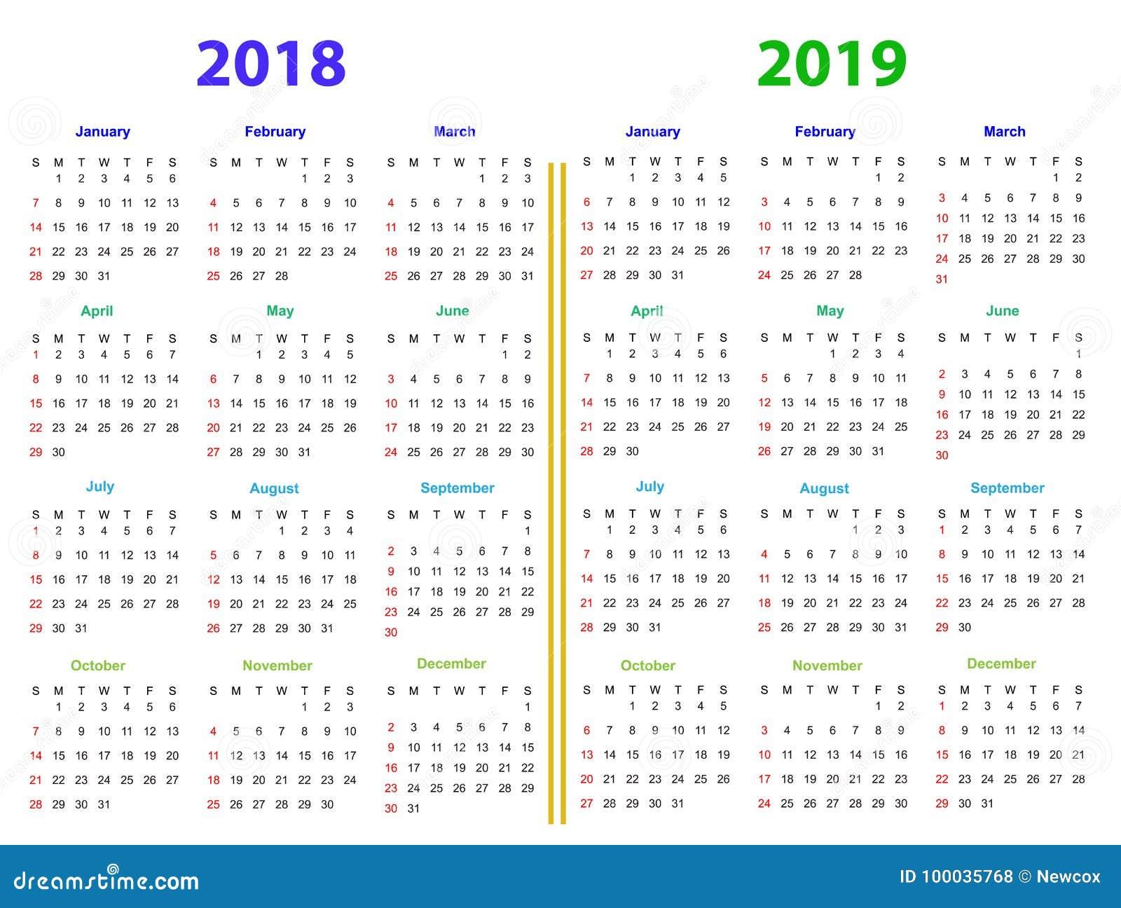12 months calendar design 2018 2019 stock vector illustration of