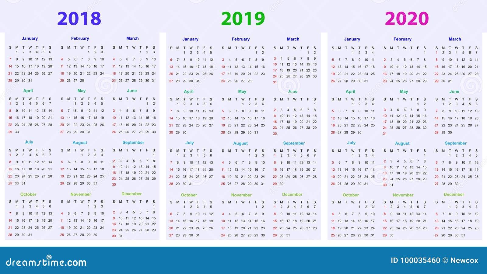 Calendario Maya 2020.12 Months Calendar Design 2018 2019 2020 Stock Vector Illustration