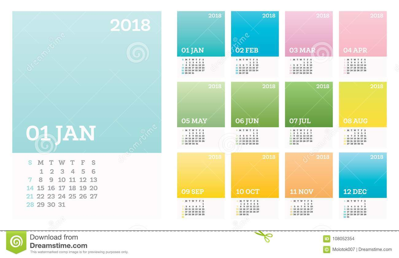 12 Months Calendar 2018 Pastel D Olor In Minimalistic Style Stock