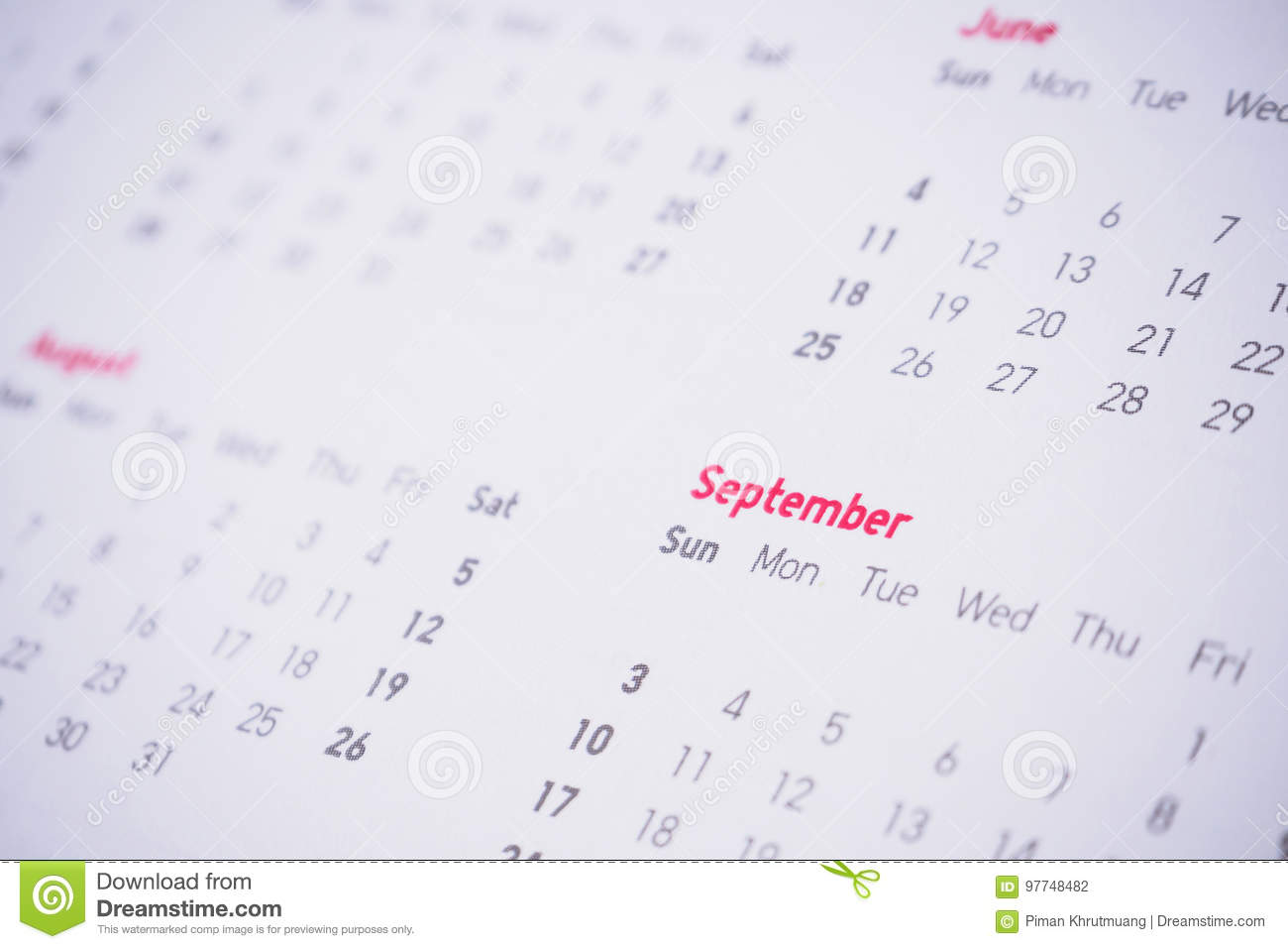 Months and dates on calendar