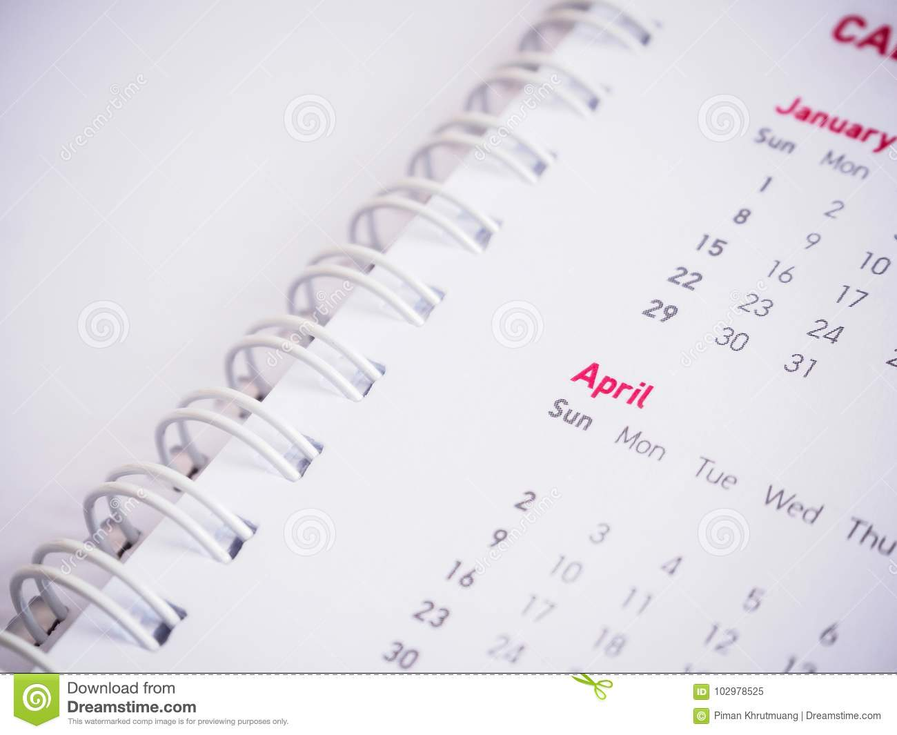 Months and dates on calendar new year
