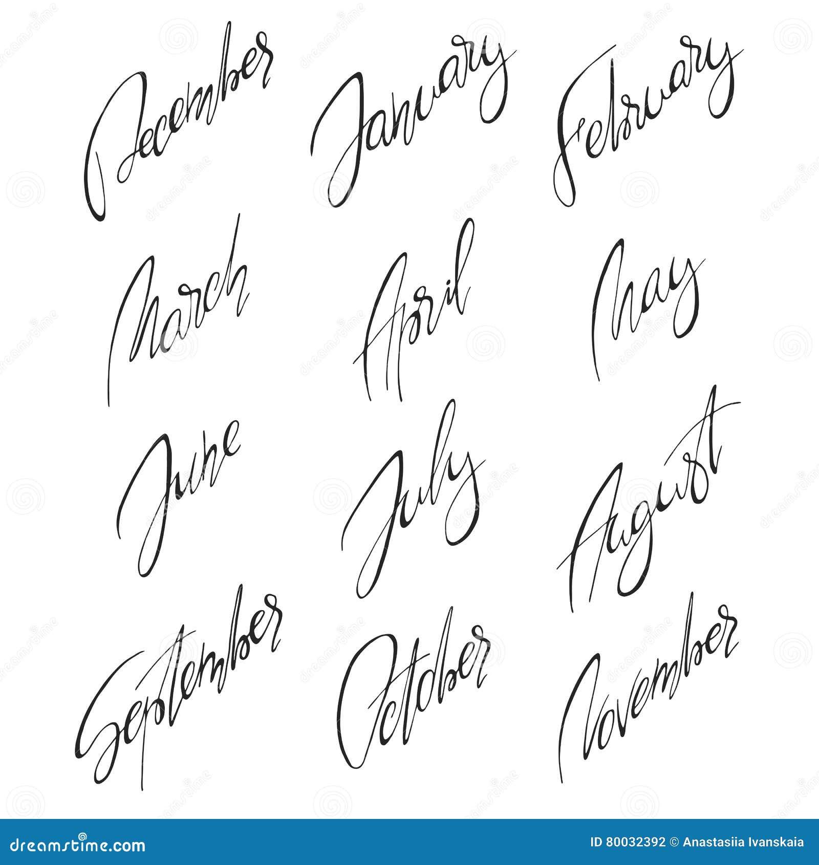 Months Handwritten Modern Calligraphy Stock Vector