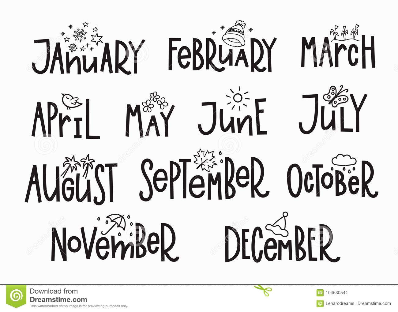 Months Year Calendar Lettering Typography Stock Illustration