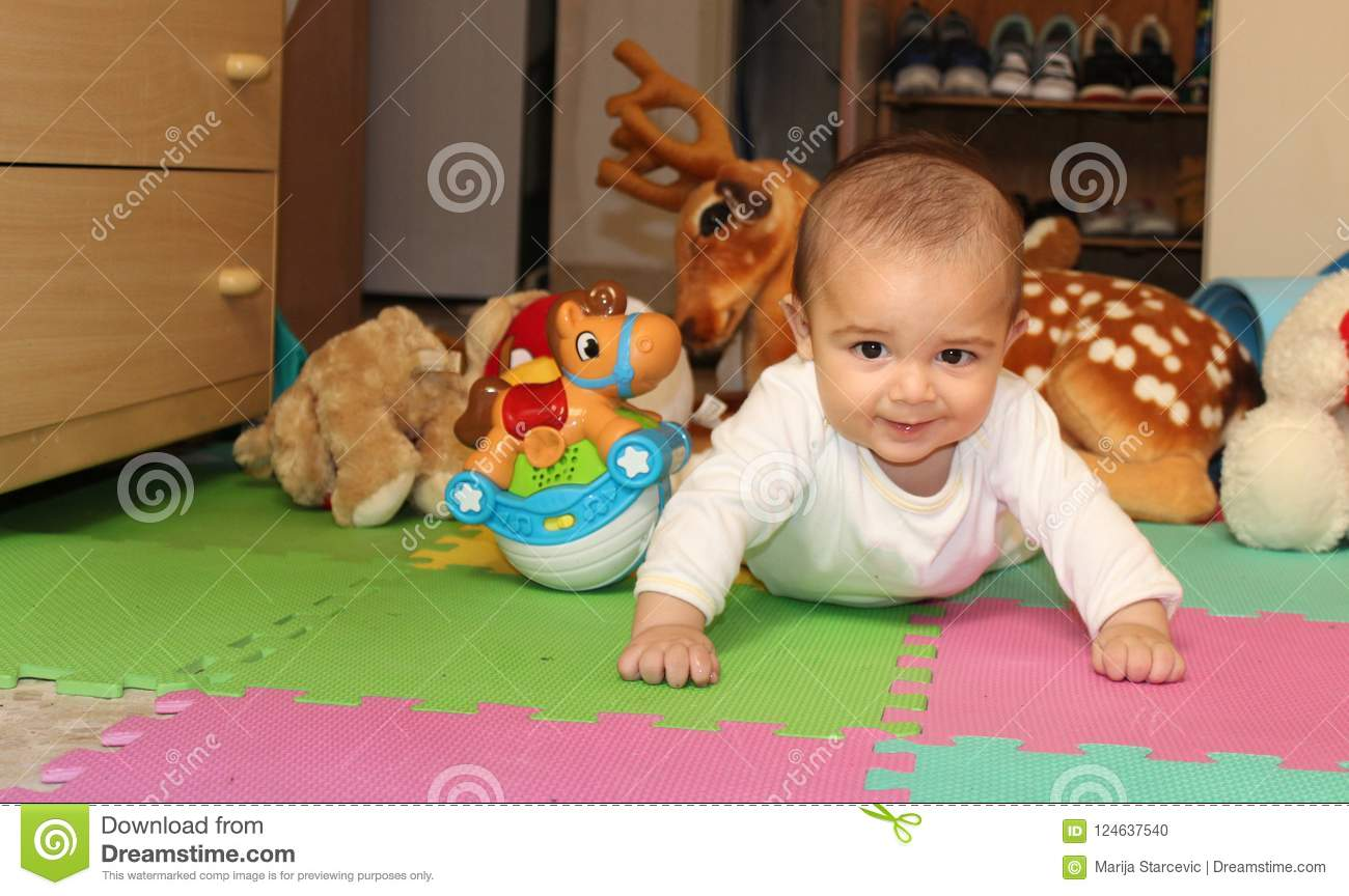 6 Months Old Baby Boy Playing With Toys Stock Photo Image Of