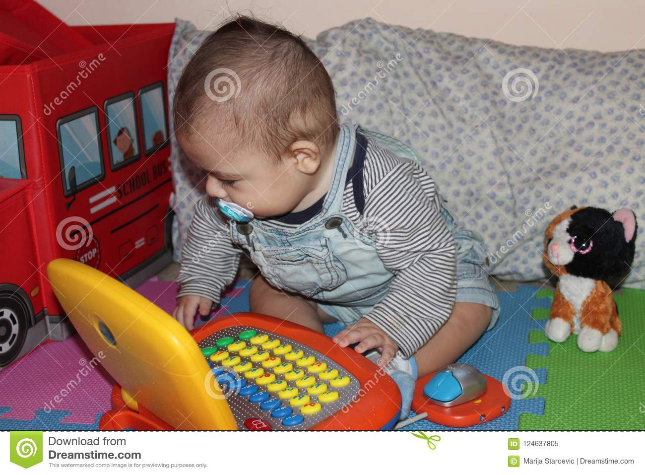 6 Months Old Baby Boy Playing With Toys Stock Image Image Of Cute