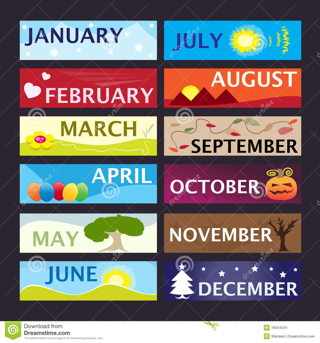 Months Of The Year Banner Set Stock Illustration Illustration Of