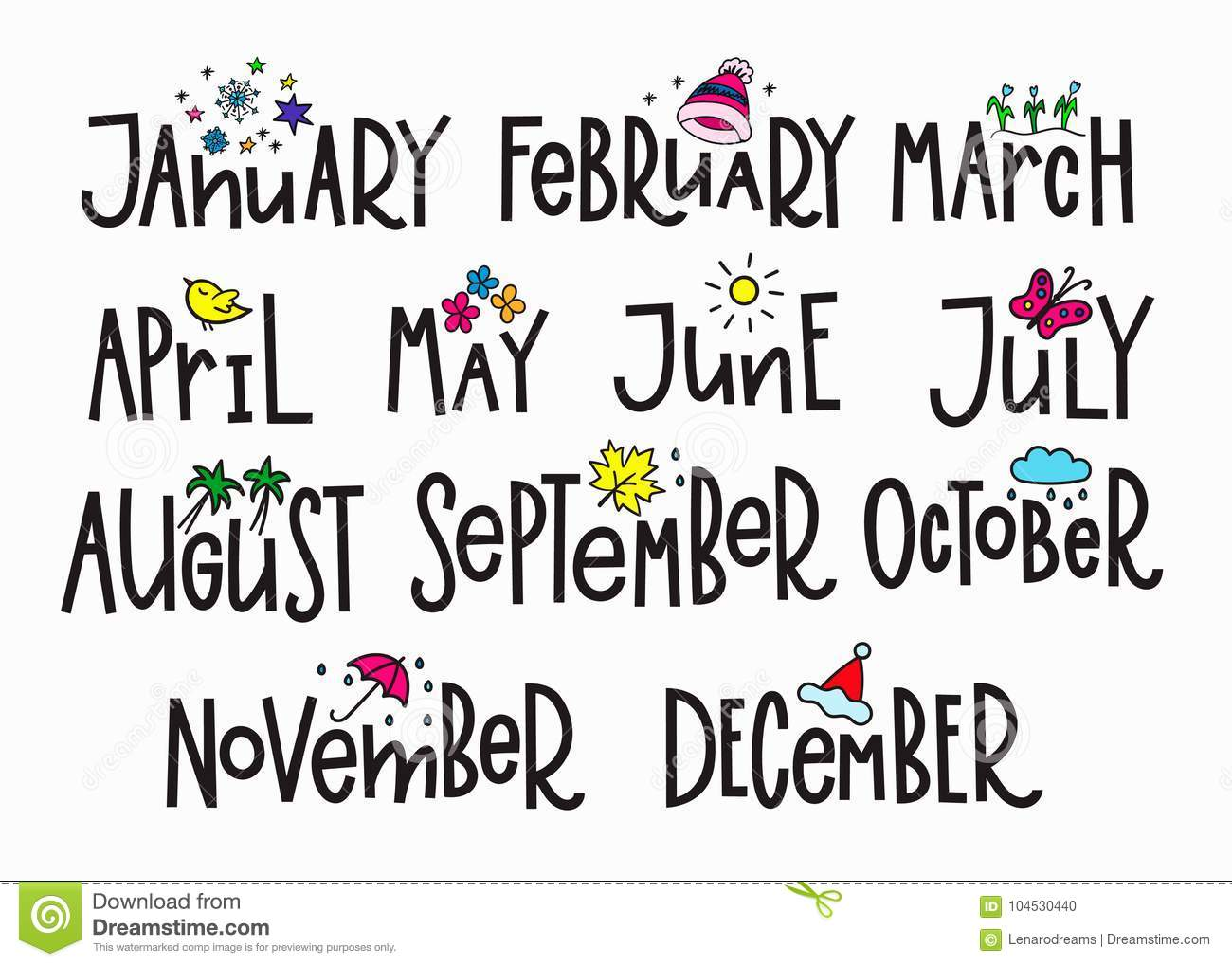 Months Year Calendar Lettering Typography Stock ...