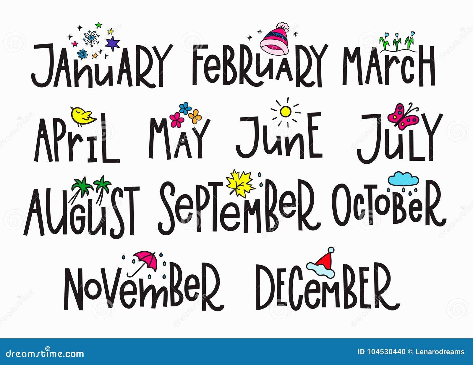 Calendar Design Letters : Months cartoons illustrations vector stock images