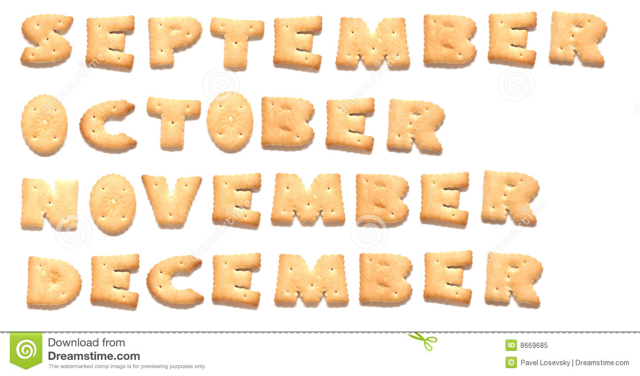 Months of year are made of cookies