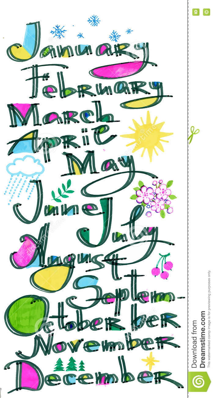 The Months Of The Year Pattern Colored Hand Drawn Letters