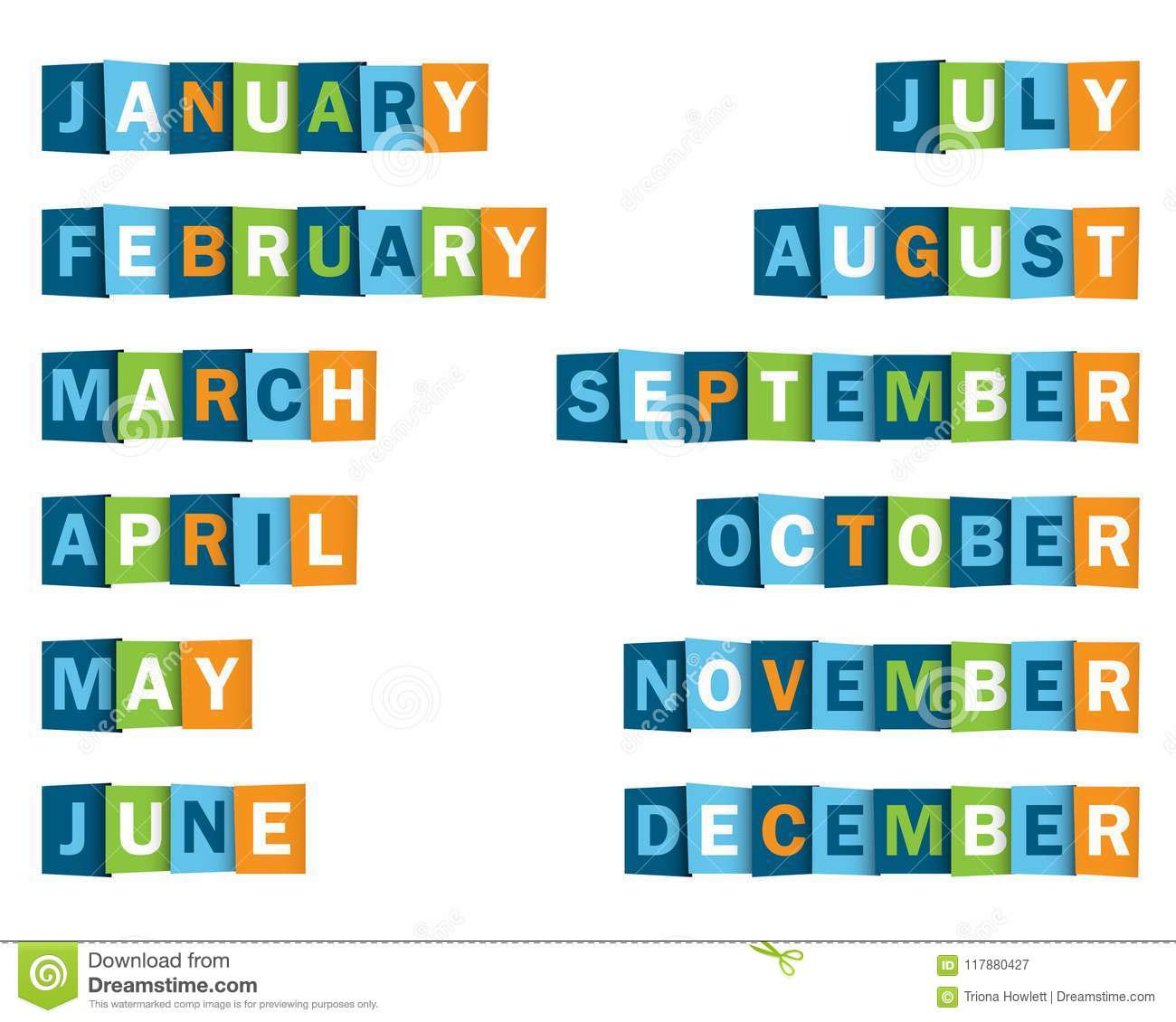 months of the year poster of overlapping letter icons stock