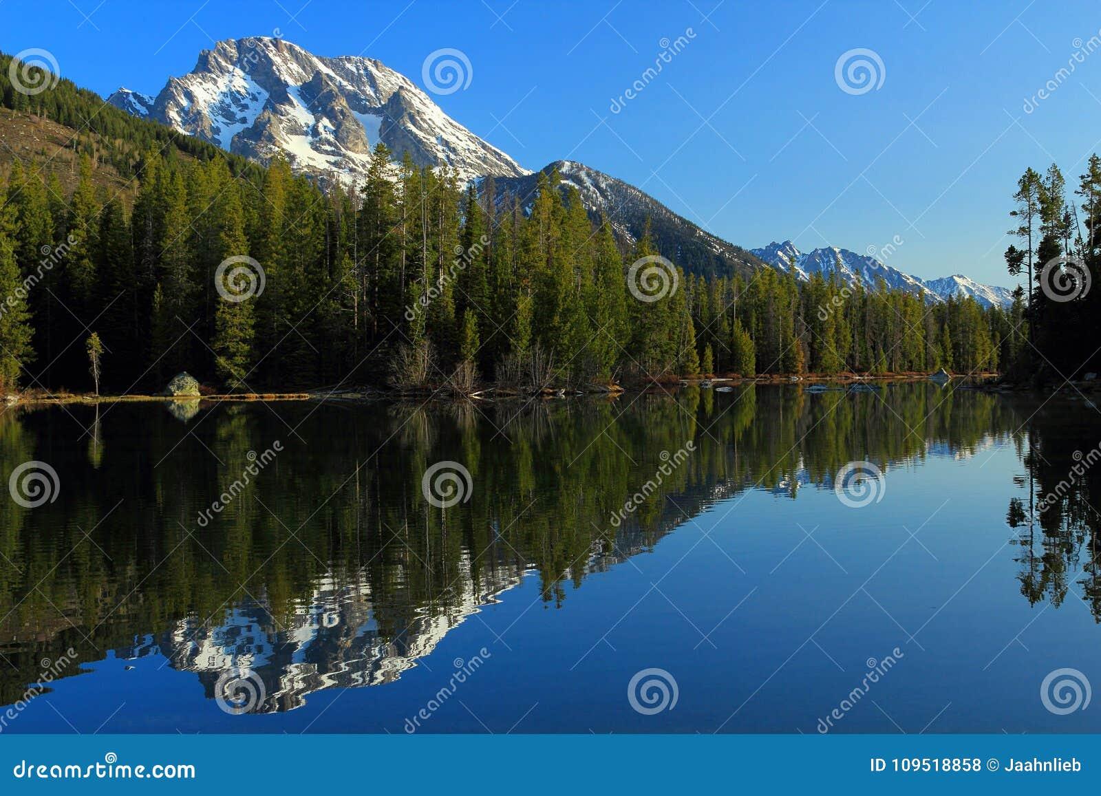 Monti Moran riflesso nel lago string, il grande parco nazionale di Teton, Wyoming