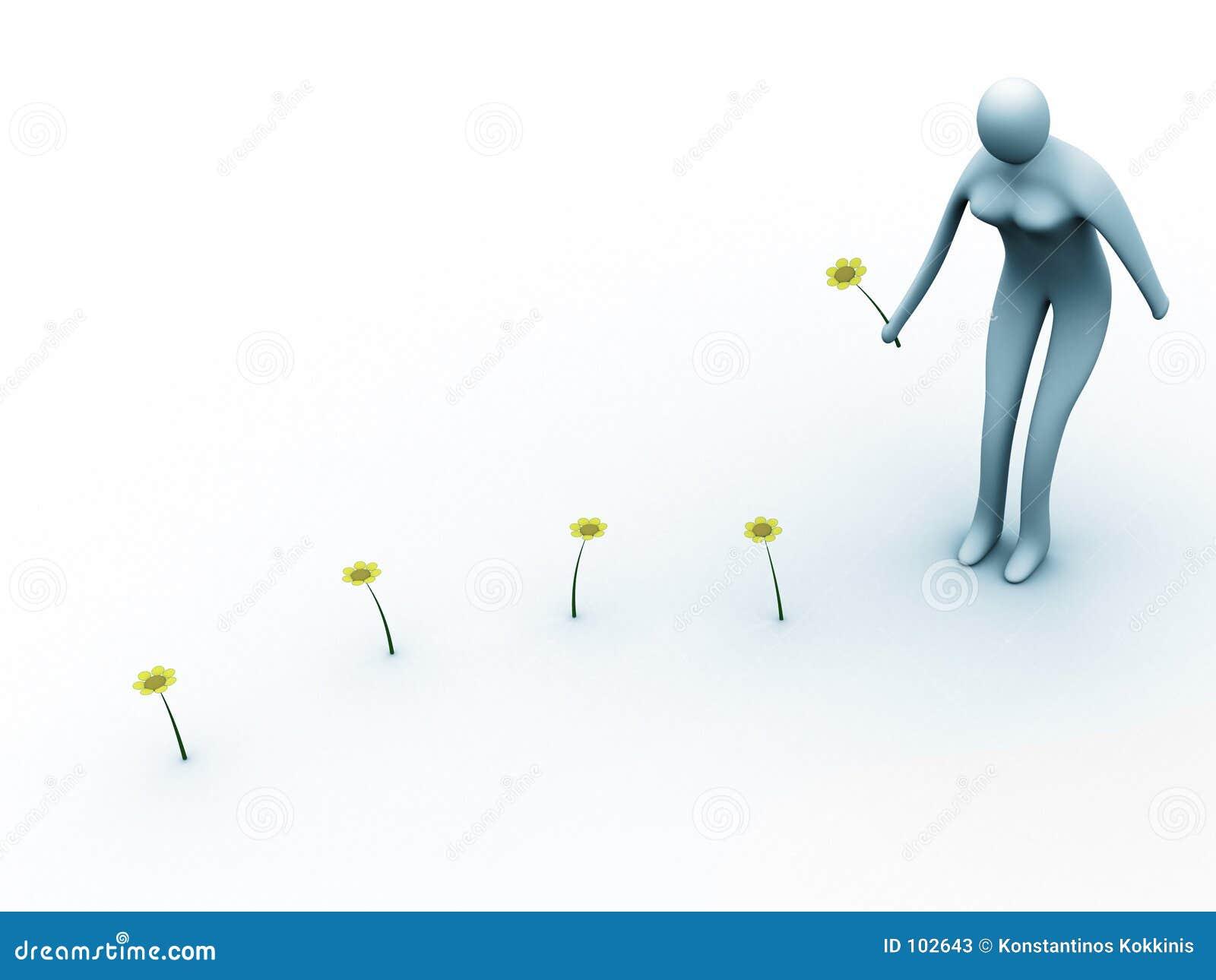 Montieren der Blumen