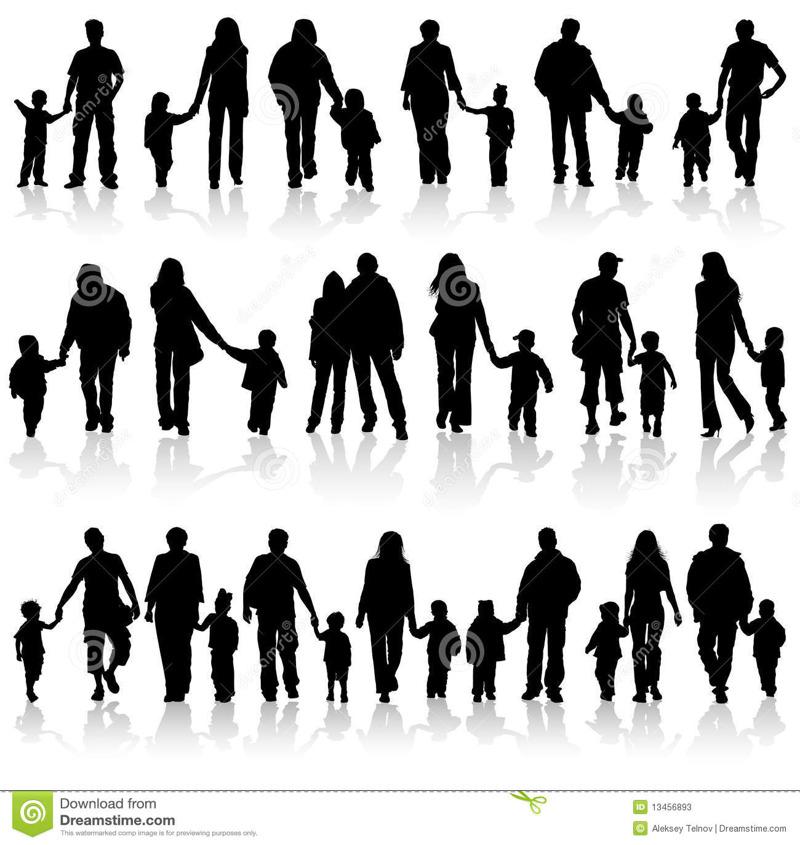 Montieren Sie Familienschattenbilder