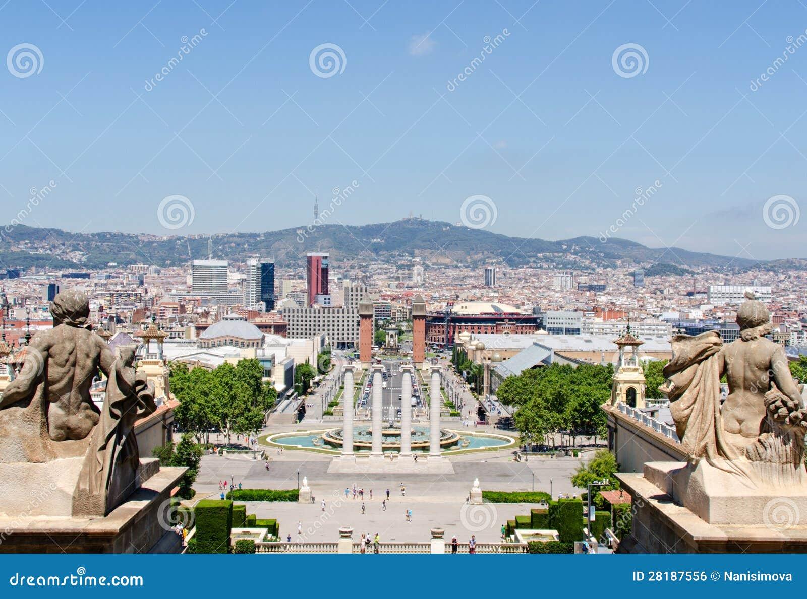 Download Montjuic Fountain On Plaza De Espana In Barcelona Spain Stock Photo - Image of city, espanya: 28187556