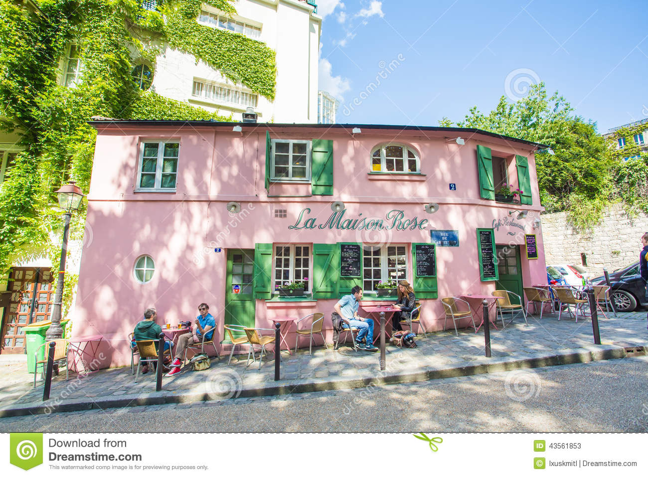 Montmartre area in paris france editorial stock photo for La maison du cafe paris
