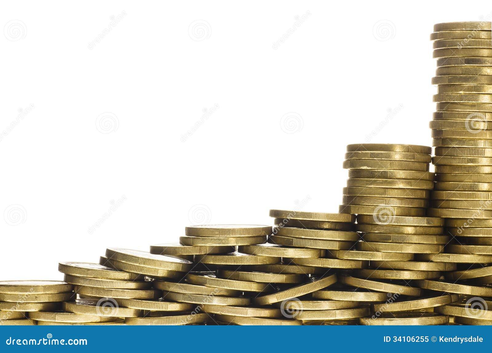 Montones Y Pilas De Monedas De Oro Que Forman La Frontera Inferior ...