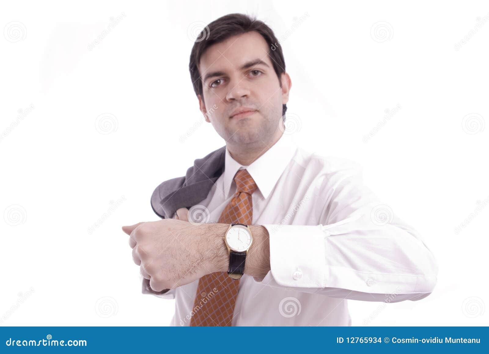 Montre-bracelet affichée par un homme d affaires