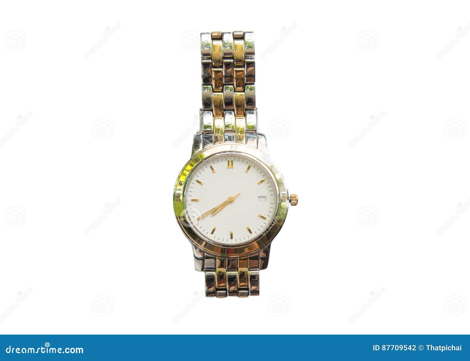 Montre-bracelet argentée d isolement sur le fond blanc