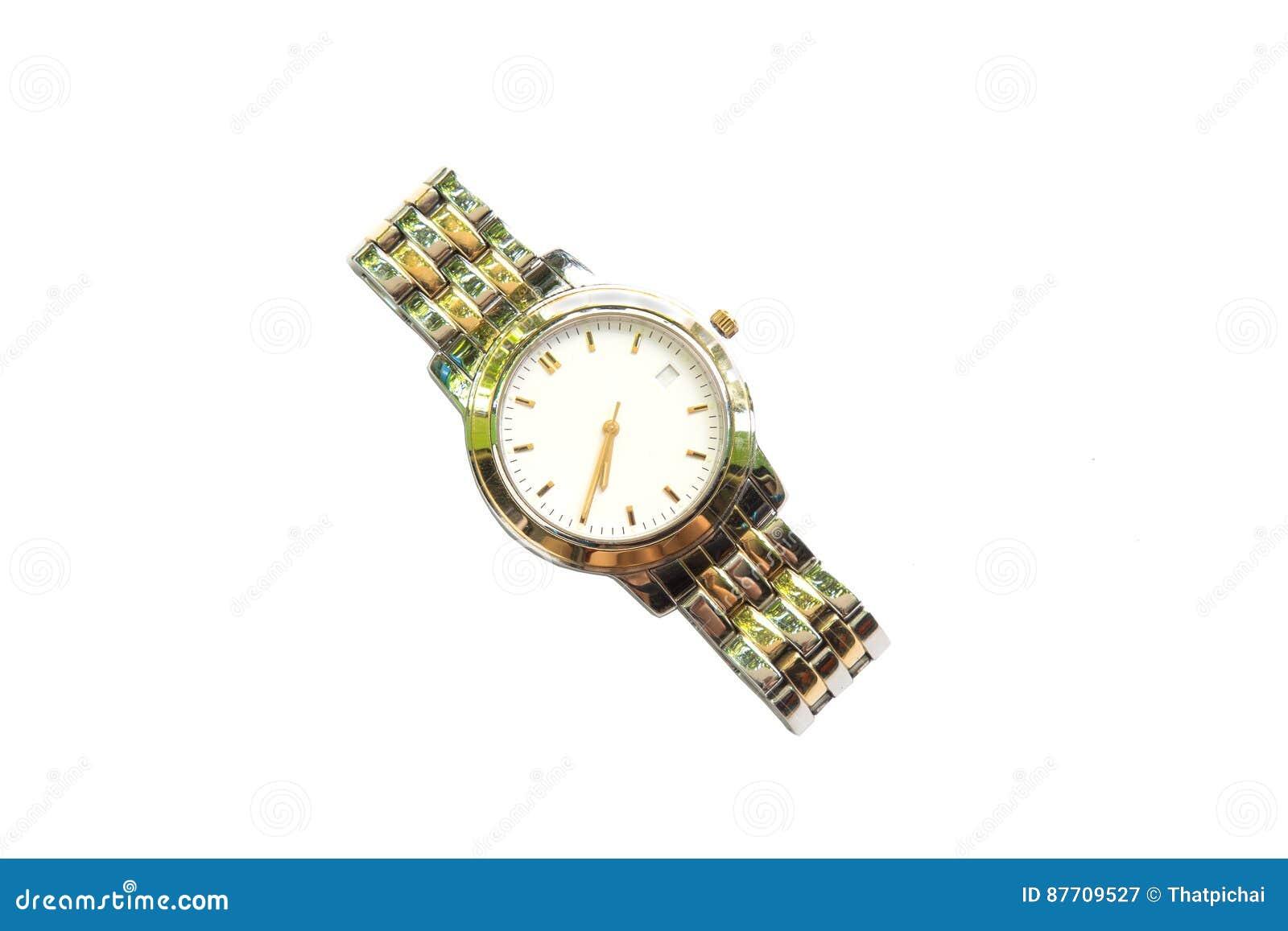 Montre-bracelet argentée sur le fond blanc