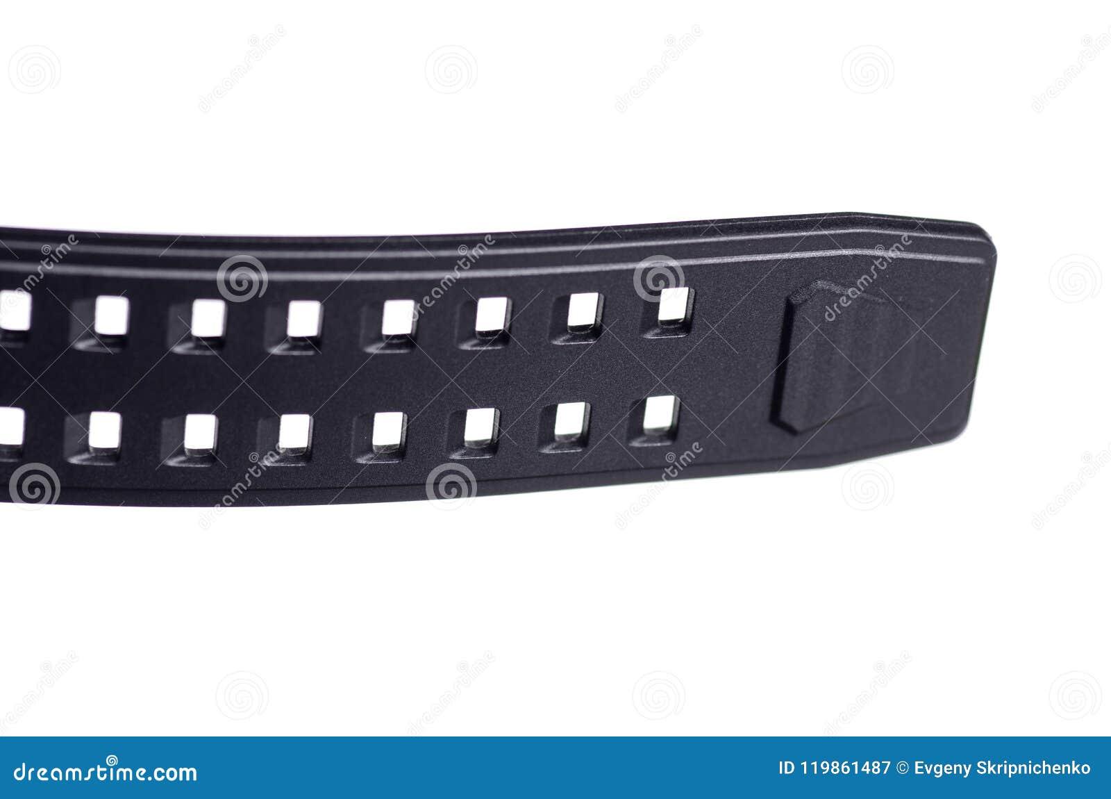 Montre noire avec le macro en caoutchouc de sport de bracelet