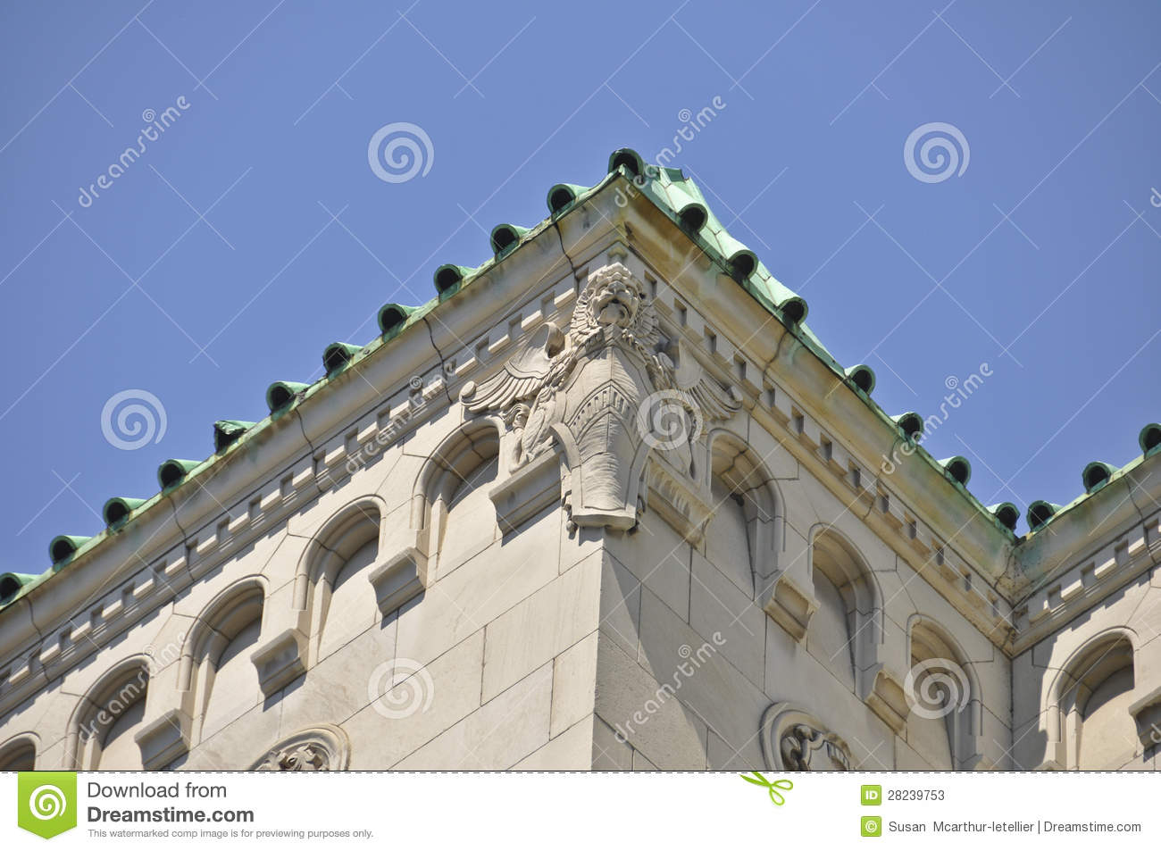 Montreal building with lion stone carving stock photos