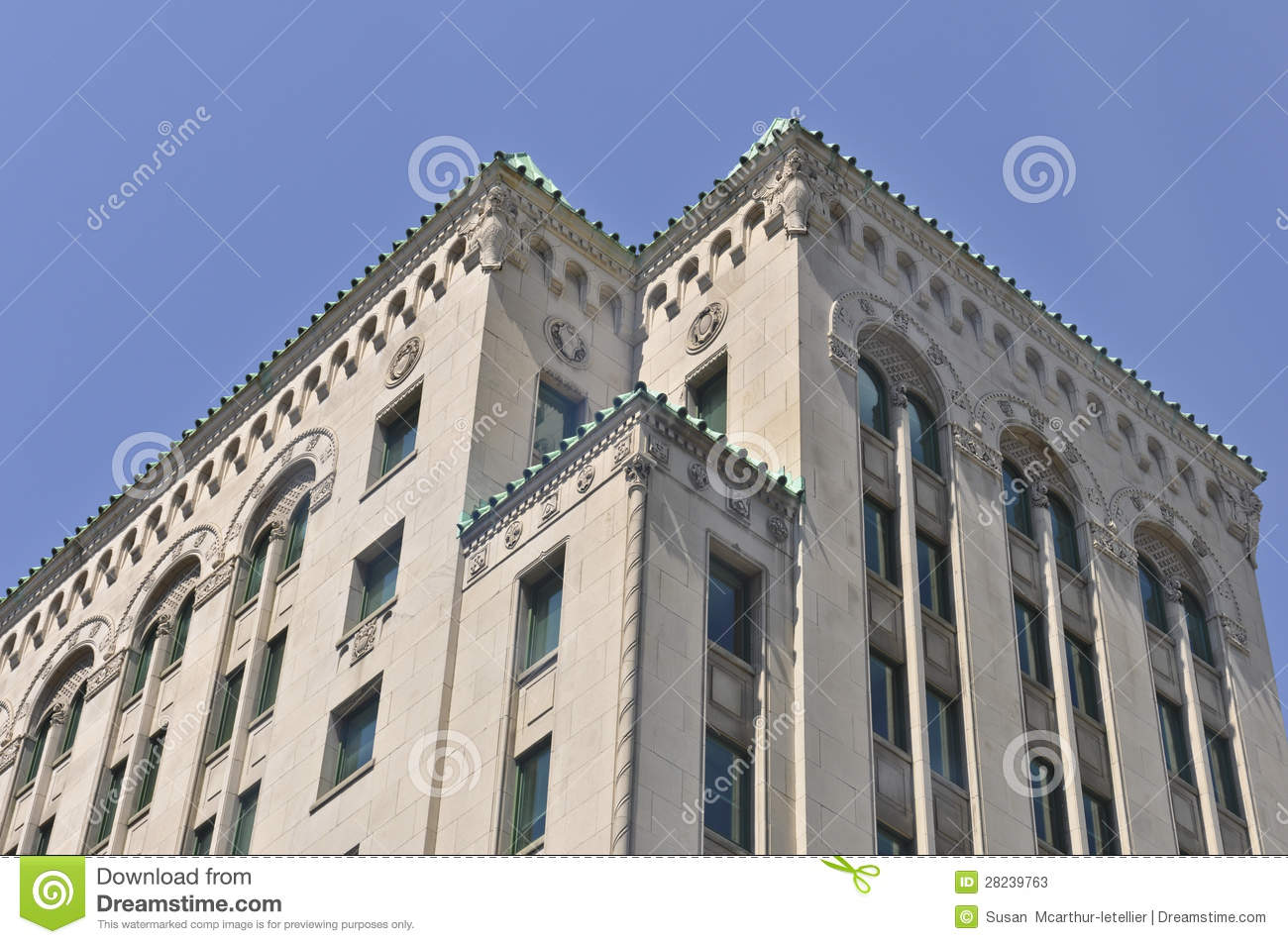 Montreal building with lion stone carvings stock photos