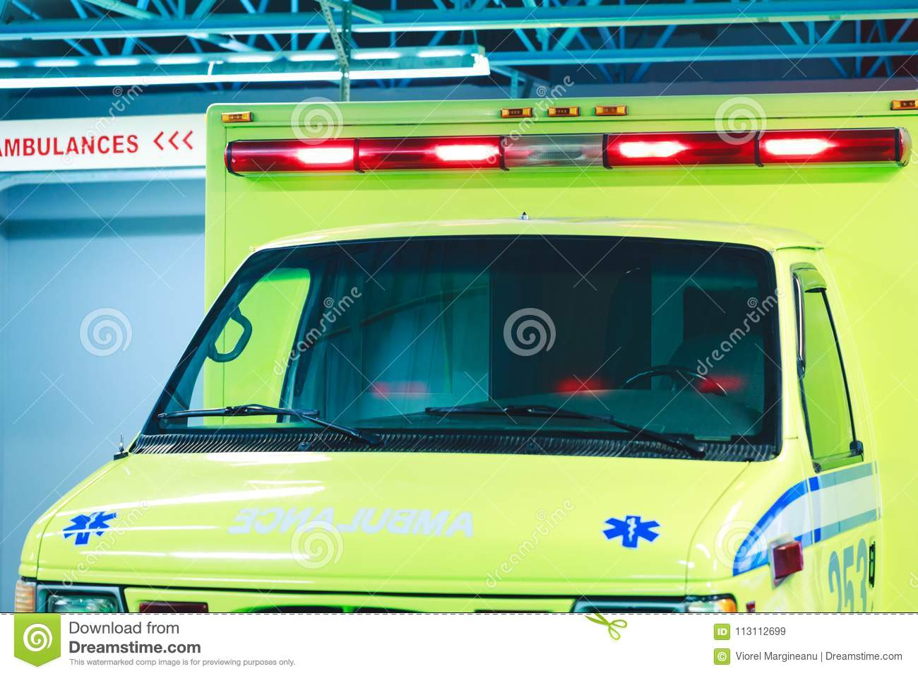 Montreal, Canada – March 25, 2018: Canadian ambulance car with