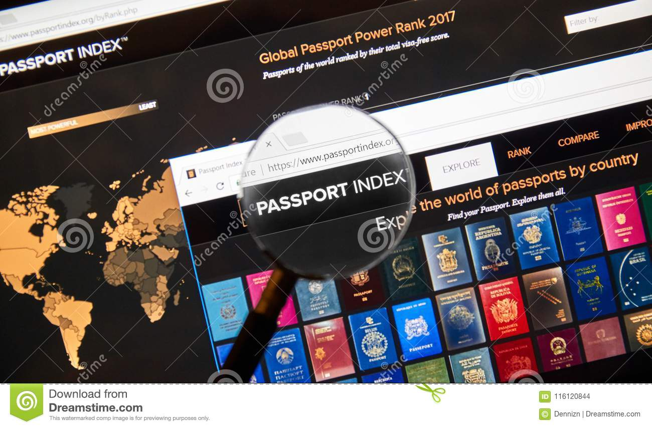 Passport Index Web Page Under Magnifying Glass  Editorial