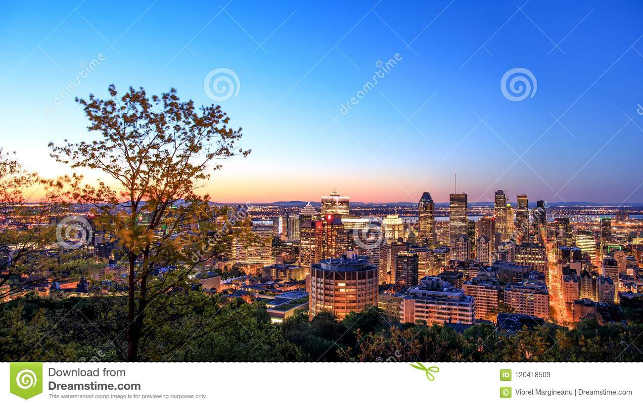 Montreal, CANADA - 21 May 2018. Montreal sunrise view from Belvedere with summer colorful leaves. Beautiful panorama of Montreal