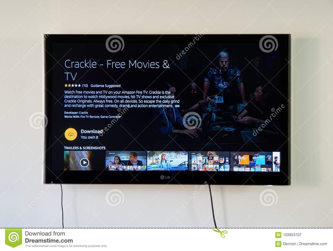 Crackle Download App Page On LG TV Screen  Editorial Photography