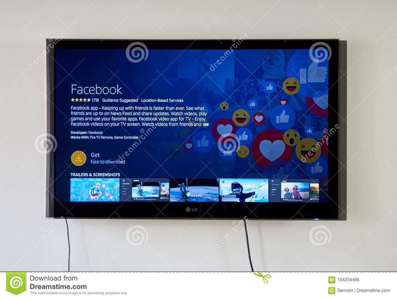 Facebook App And Login Page On LG TV Editorial Photo - Image of