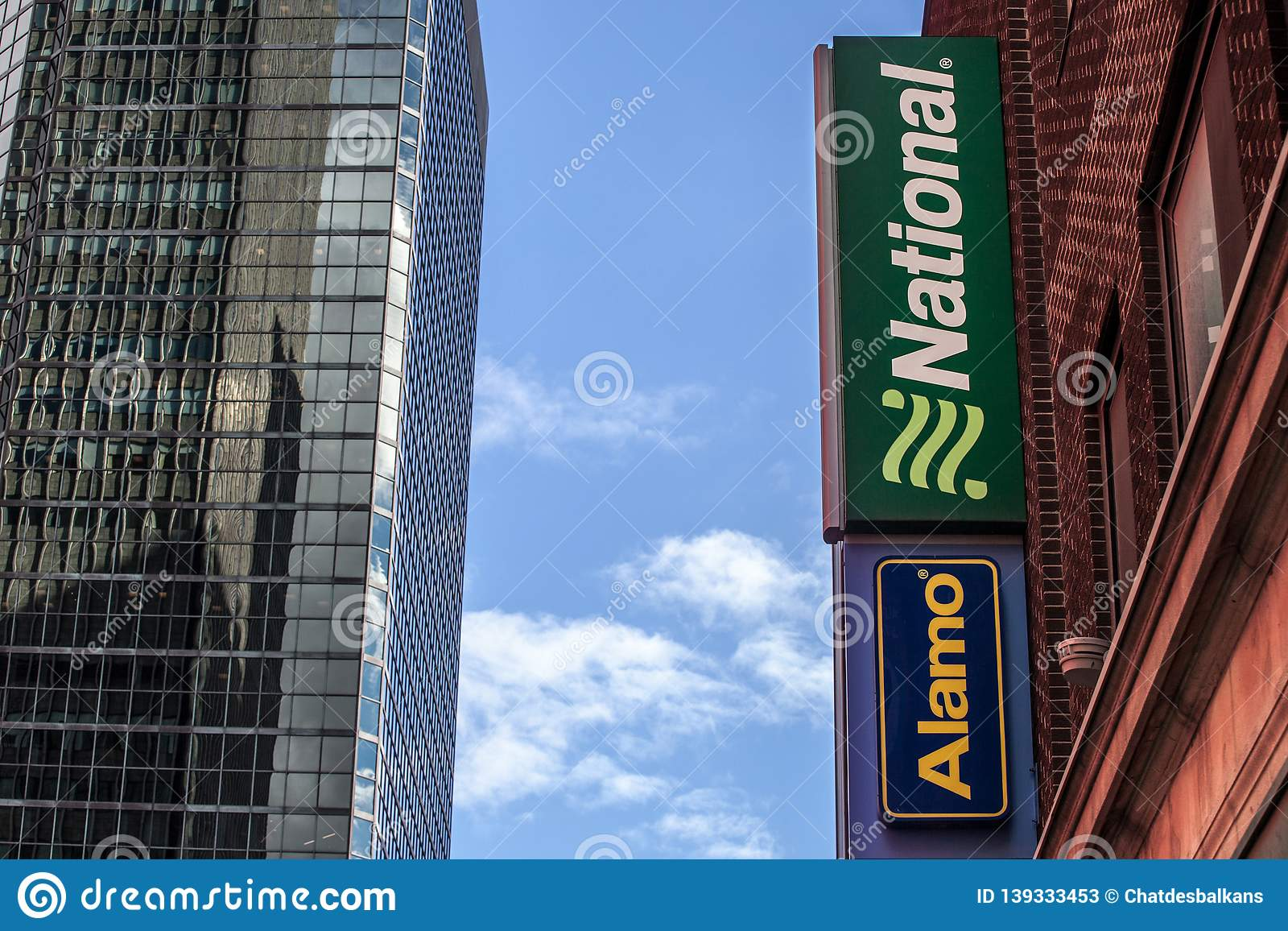 Car Rental Montreal >> Logo Of National Car Rental And Alamo On Their Main Office For
