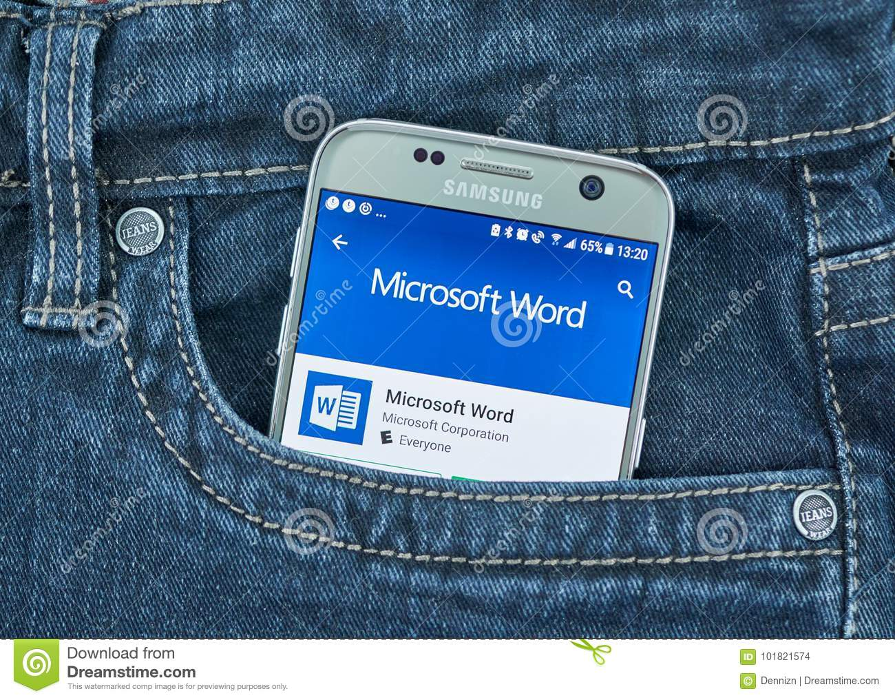 Microsoft Word Android Application Editorial Stock Image - Image of