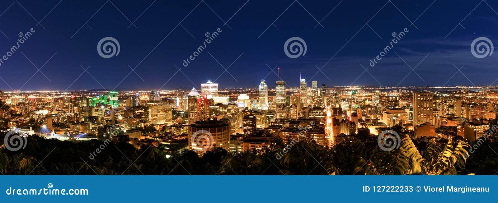 Montreal nachts, Ansicht vom Belvedere mit erstaunlicher Herbstfarbe