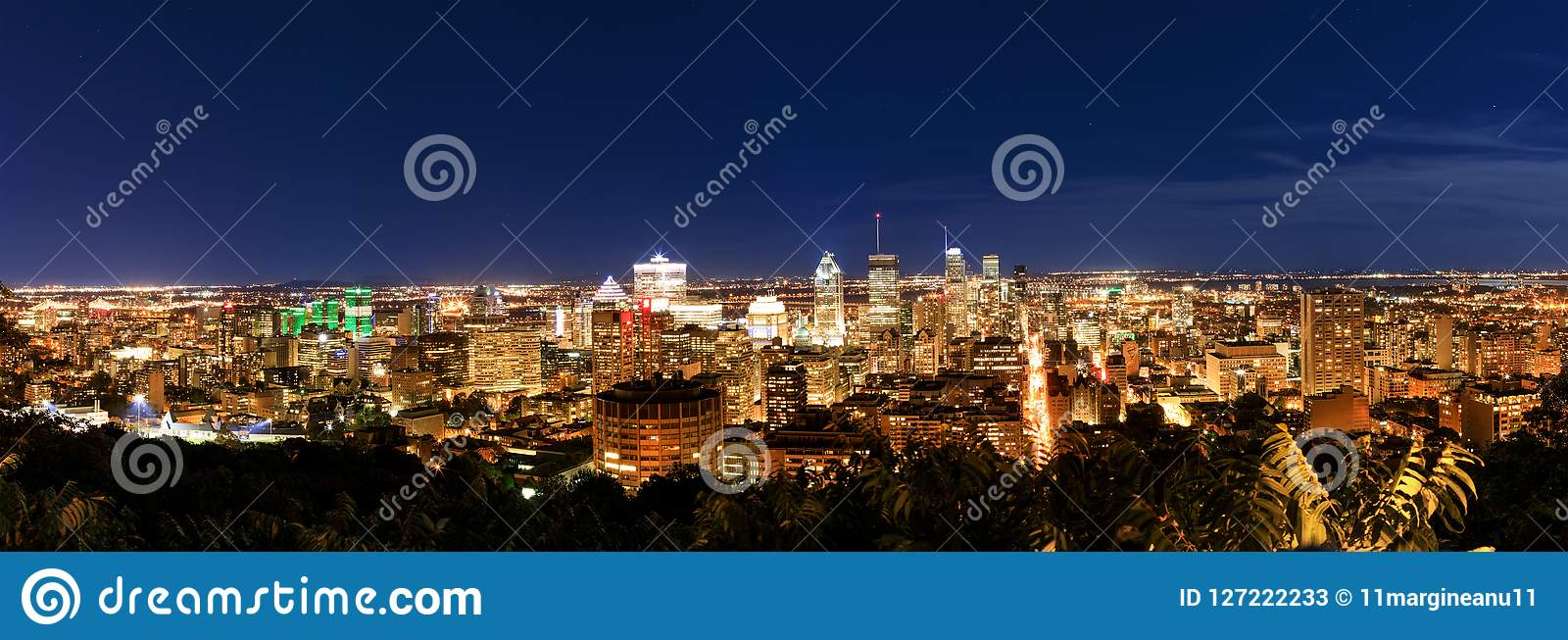Montreal at night, view from Belvedere with amazing autumn color