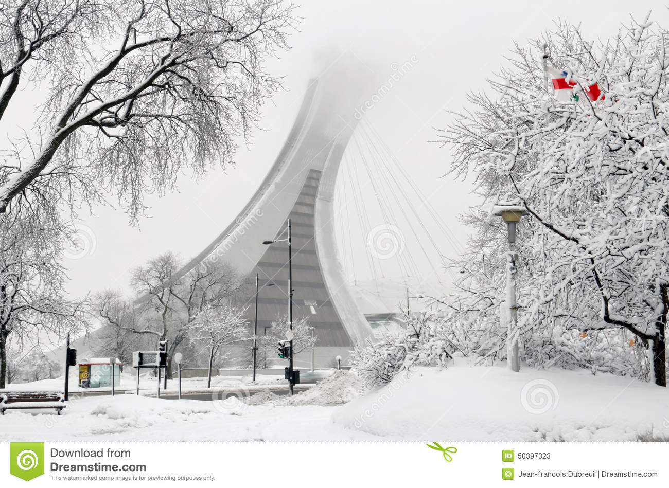 montreal olympic stadium in snow editorial stock photo image