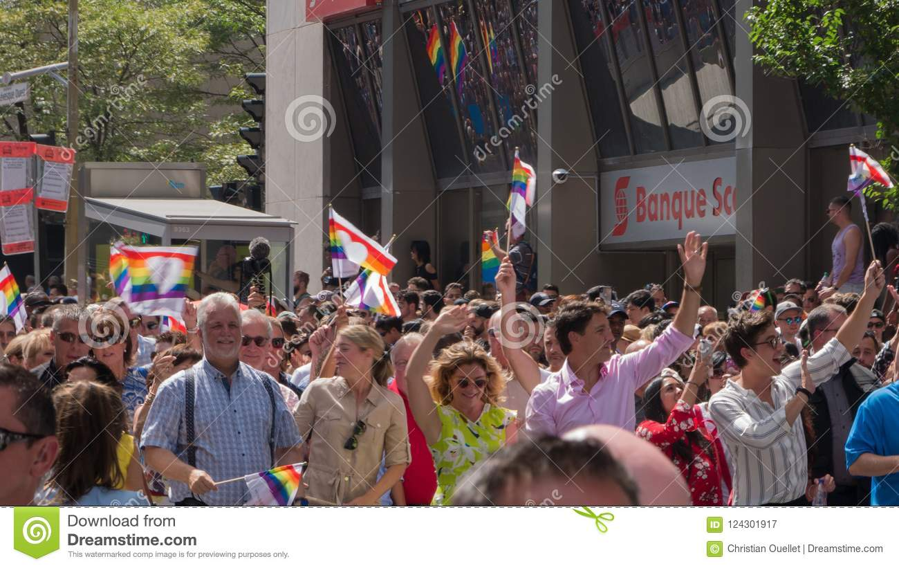 Montreal, Quebec. Canada. August 19th 2018. Justin Trudeau now Canada`s Prime Minister marches in Montreal`s gay pride parade.