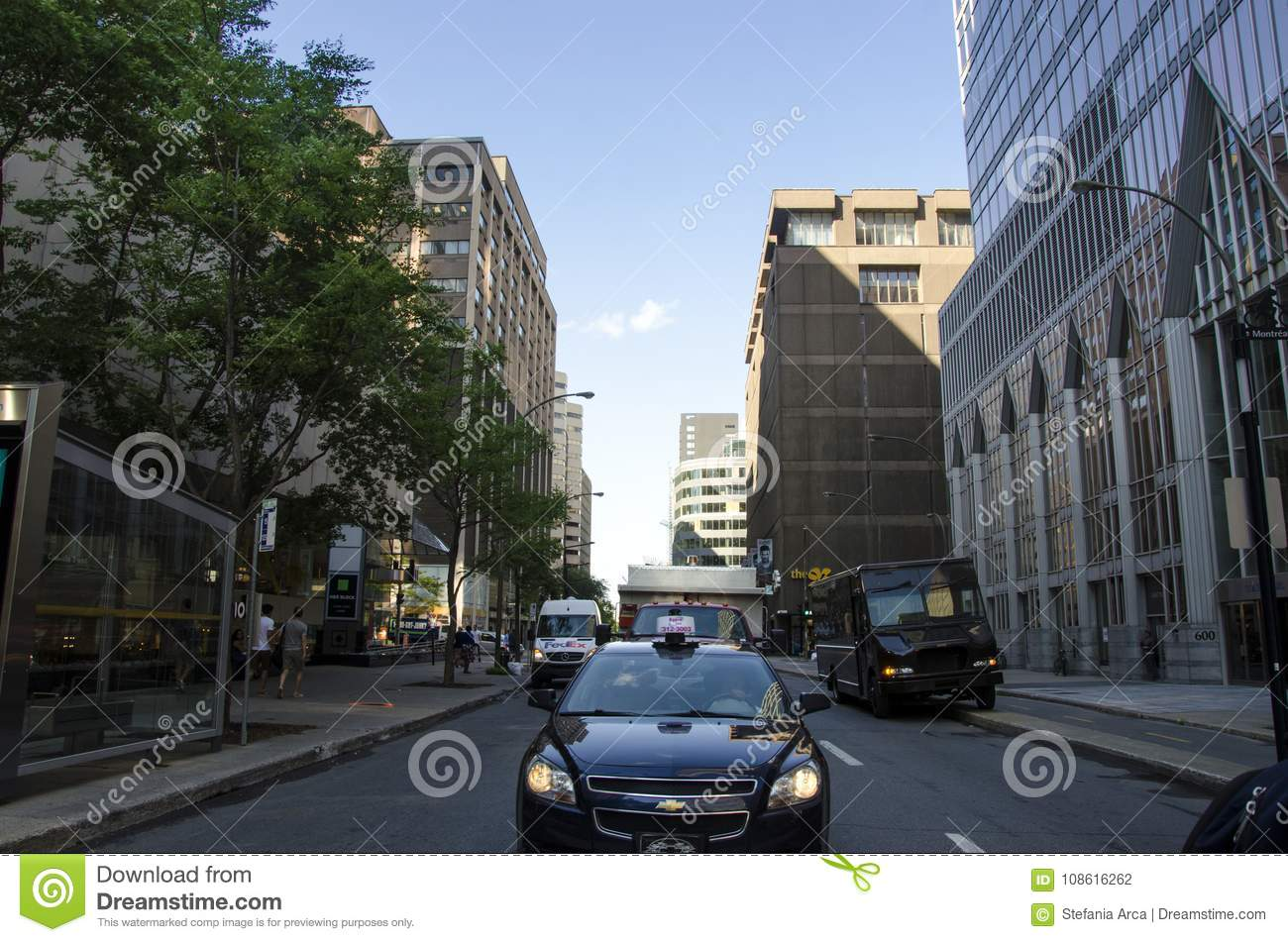 Montreal, Quebec, Canada - 18 July 2016 - Generic street in down
