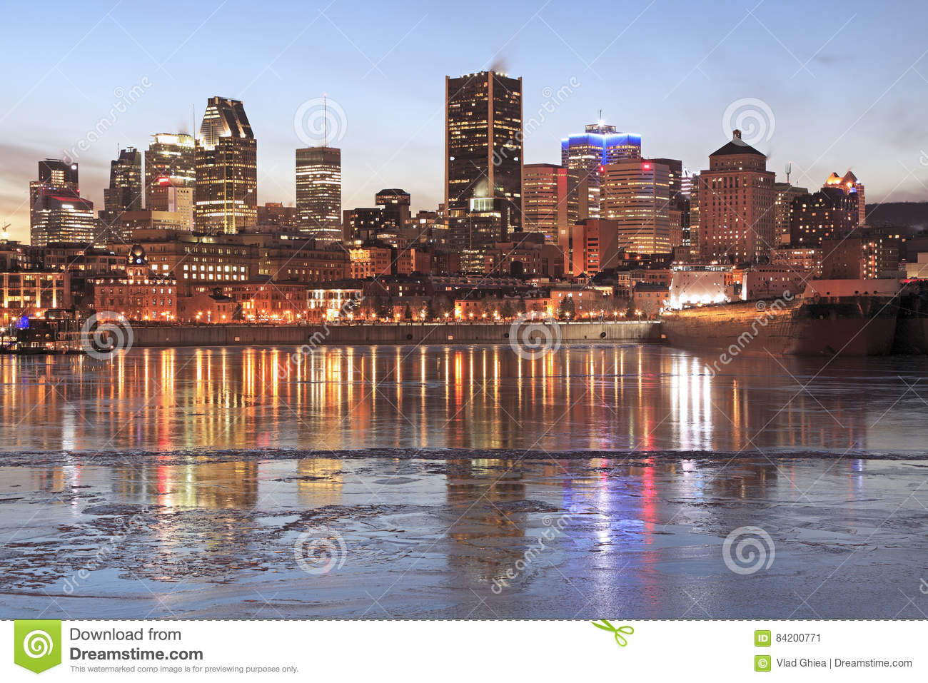 Montreal skyline at dusk in winter