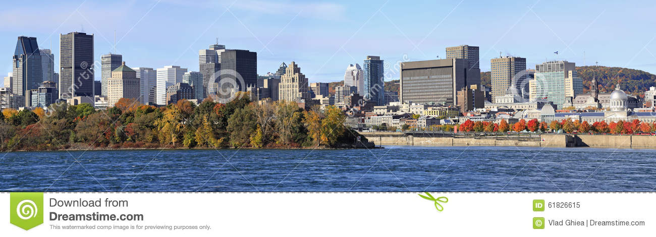 Montreal skyline and Saint Lawrence River in autumn, Quebec