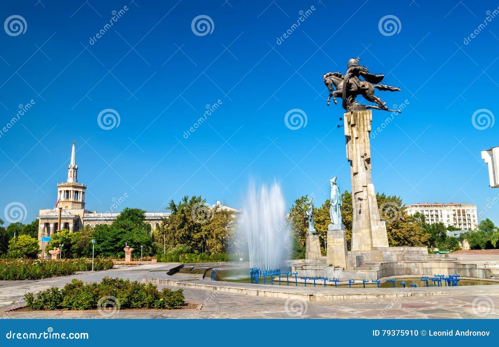 Monument équestre de Manas à Bichkek, république du Kyrgyzstan