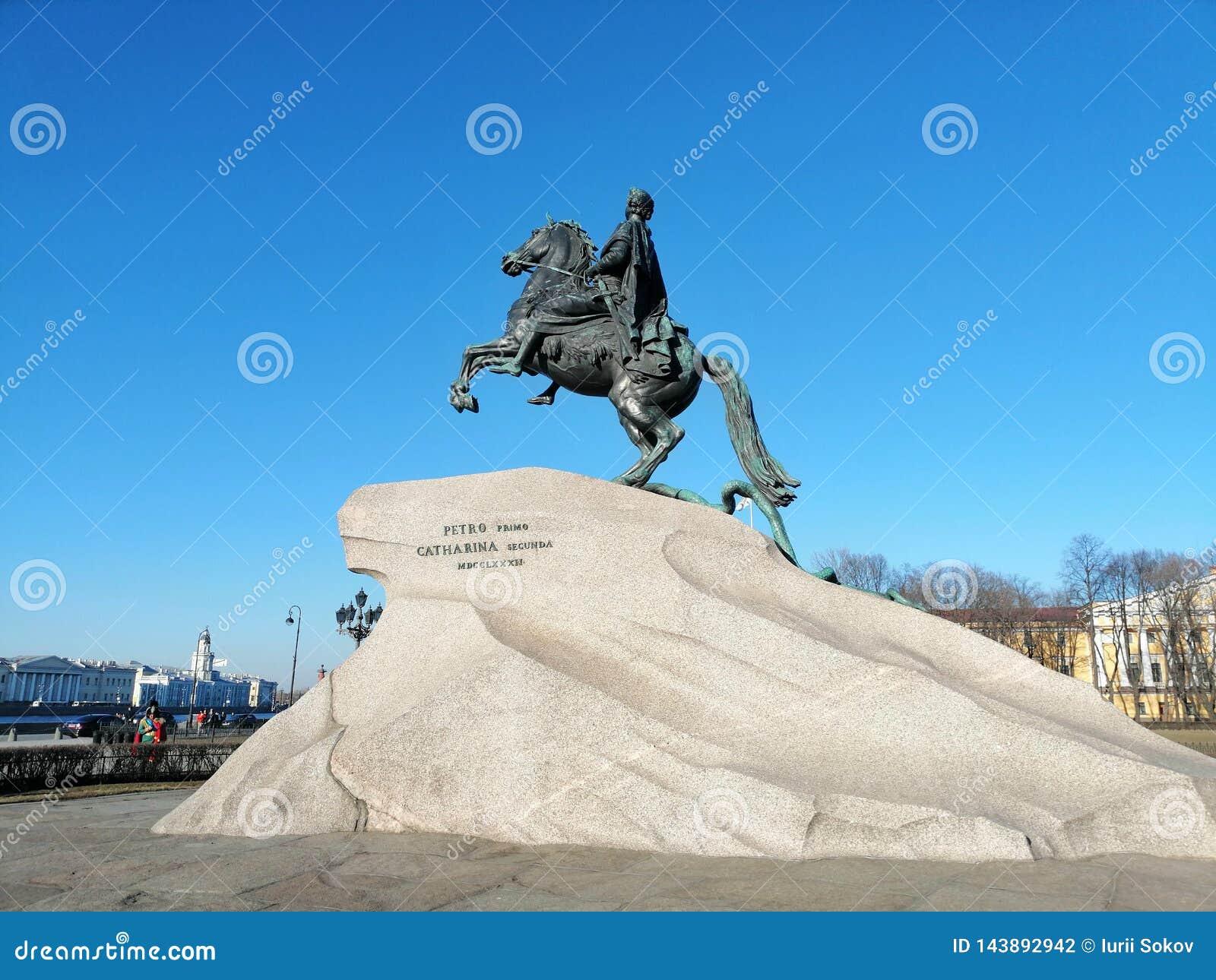 Monument aan Peter op horseback van Koningin Catherine