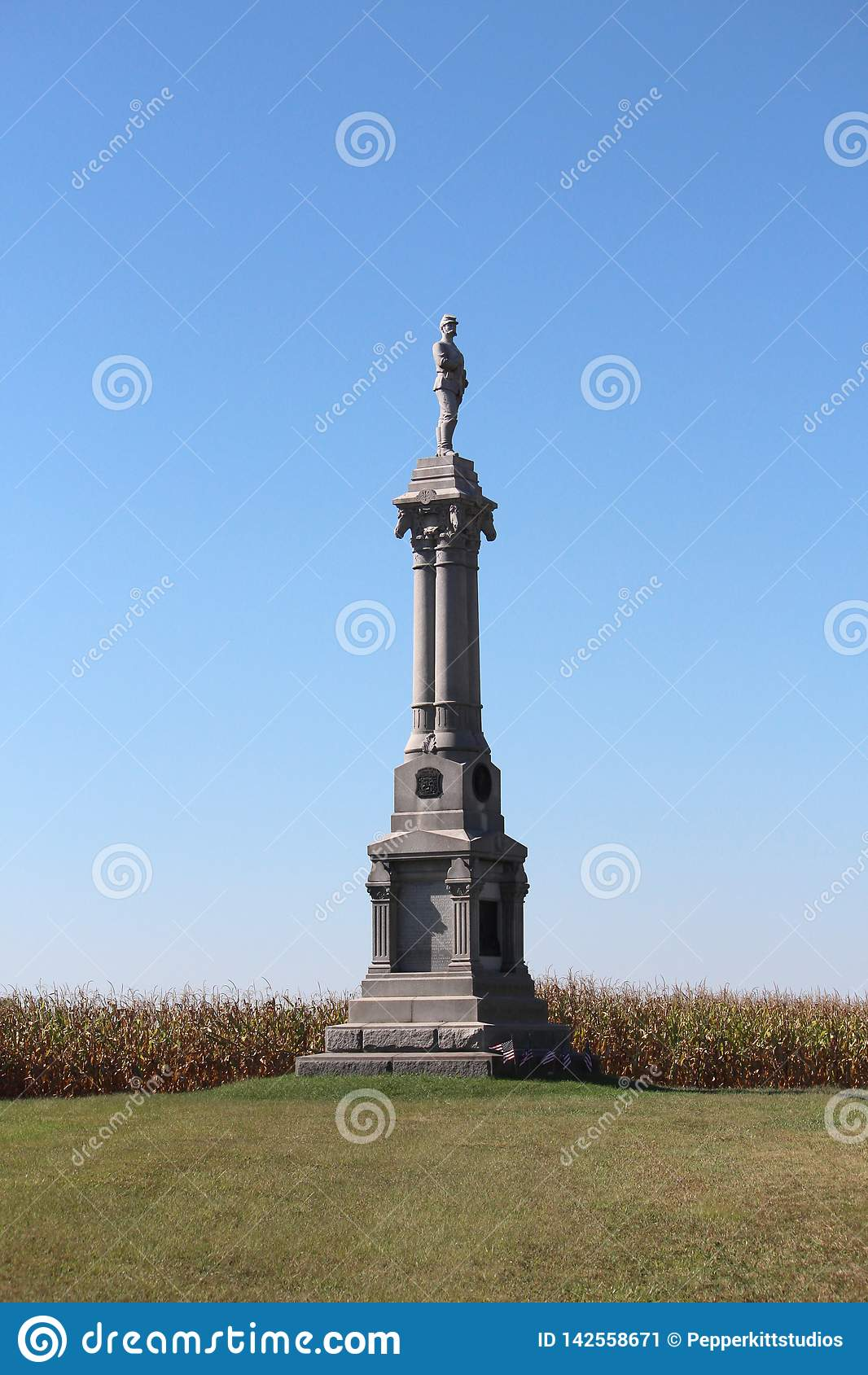 Monument f?r Gettysburg - Michigan Calvarybrigad - amerikansk inb?rdeskrig