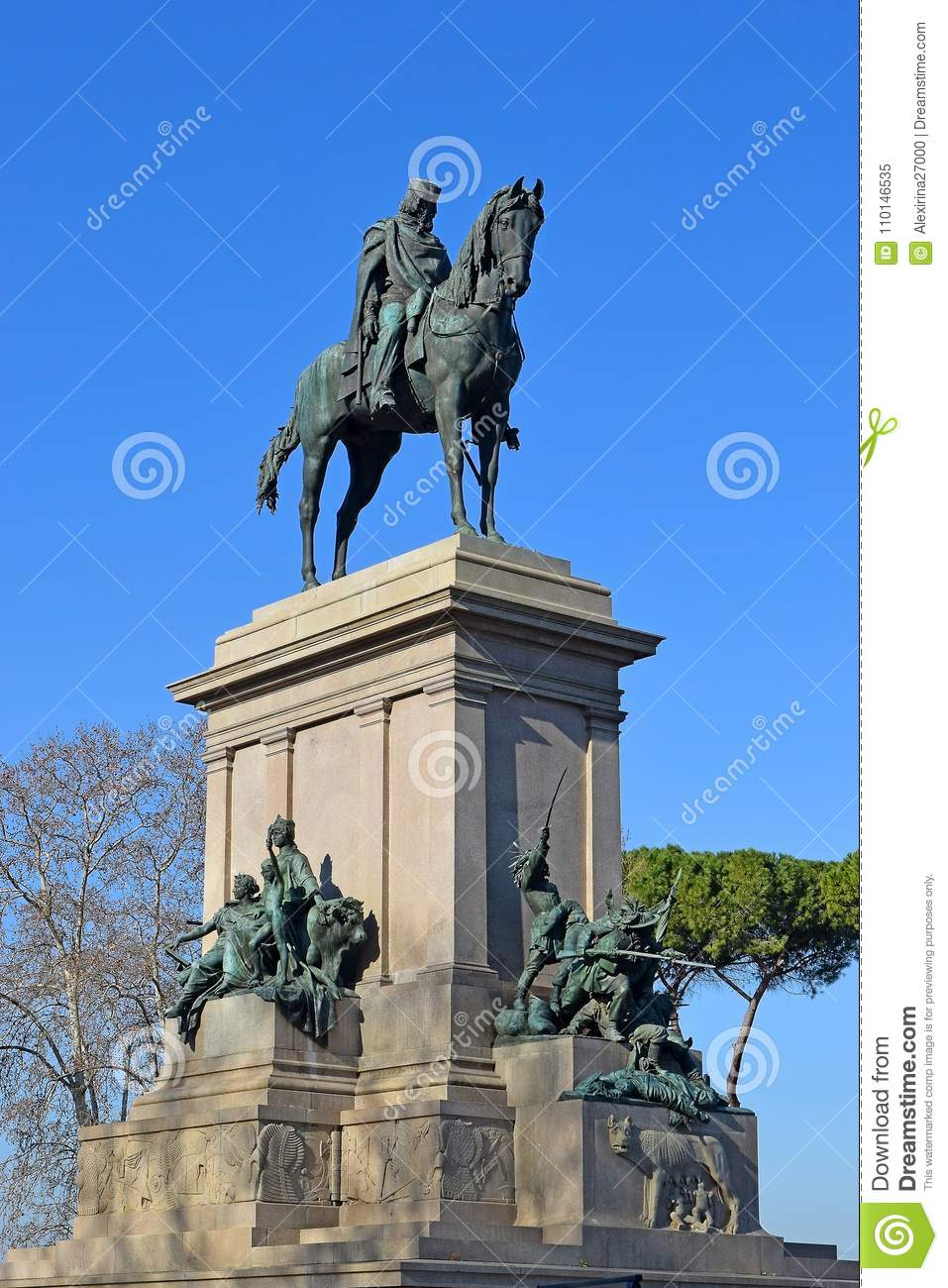 Monument Of Giuseppe Garibaldi At The Janiculum Hill Rome