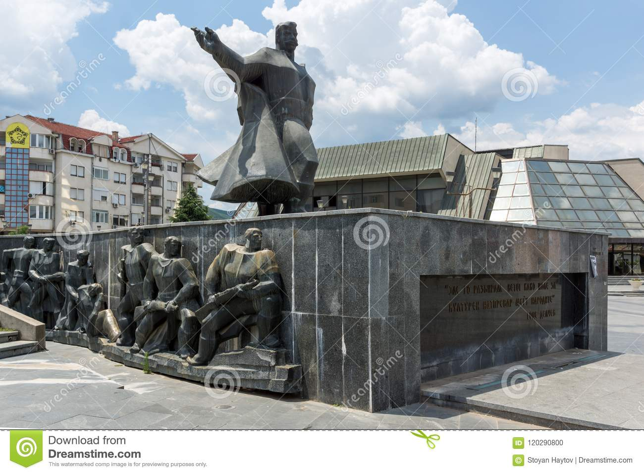 Monument of Gotse Delchev at the central square of town of Strumica, Republic of Macedonia
