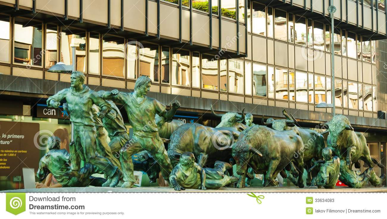 Monument Of Running Of The Bulls Editorial Stock Photo ...