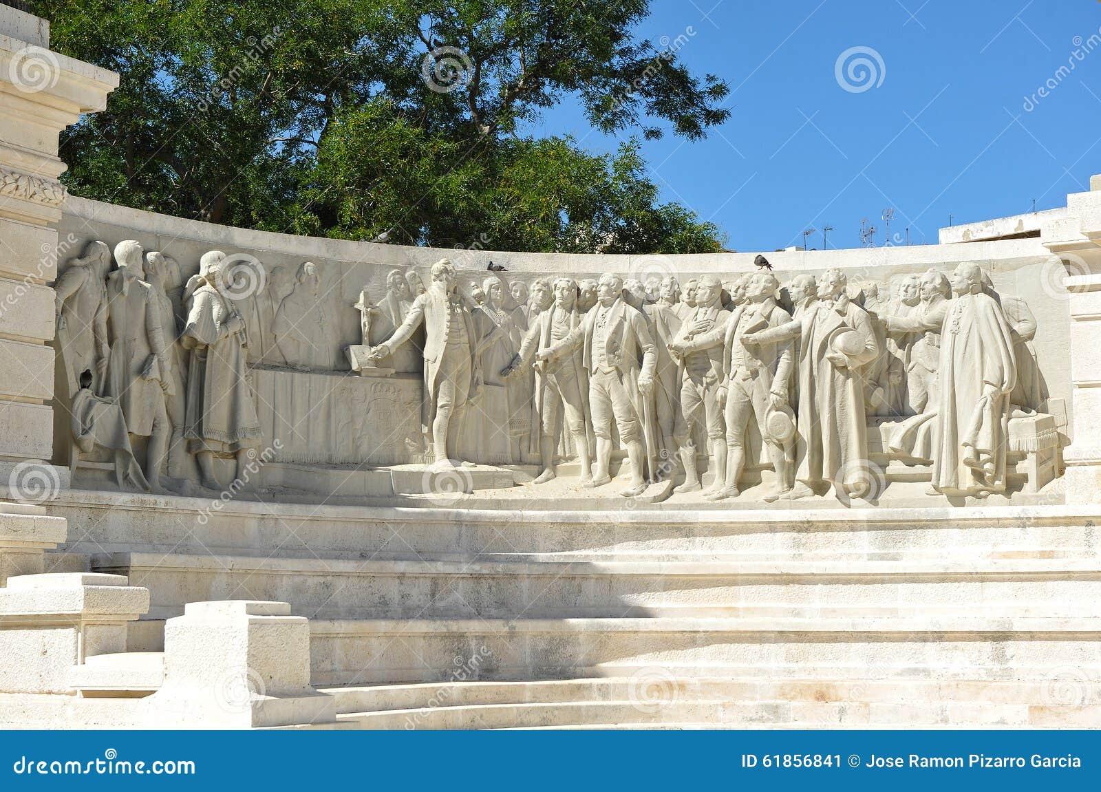 Monument till domstolarna av Cadiz, 1812 konstitution, Andalusia, Spanien